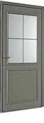 Porte d'entrée LANGEAIS en aluminium laqué gauche poussant haut.2,15m larg.90cm - Panneau de Particule Surfacé Mélaminé (PPSM) ép.19mm larg.2,07m long.2,80m Prunier Perse finition Velours Bois poncé - Gedimat.fr
