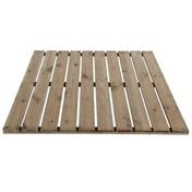 Dalle de terrasse Pin Sylvestre face lisse dim.100x100cm ép.32mm - Courette anglaise de ventilation NICOLL avec grille long.26cm larg.13,5cm haut.20cm coloris sable - Gedimat.fr