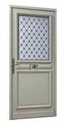 Porte d'entrée LUTECE en movingui gauche poussant haut.2,15m larg.90cm - Pavé en béton ép.8cm dim.11x11cm coloris noir - Gedimat.fr
