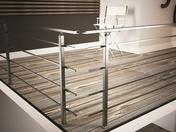 Kit SQUARE SECUNDO rampe et garde-corps aluminium anodisé inox long.1,00 m - Balustrades et Garde-corps intérieurs - Bois & Panneaux - GEDIMAT