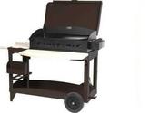 Plancha SUPER REINA avec couvercle sur chariot chocolat - Barbecues - Fours - Planchas - Plein air & Loisirs - GEDIMAT