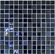 Emaux de verre de 2,5x2,5cm pour mur et piscine STONE GLASS sur trame de 31,1x31,1cm coloris opalo negro - Mosaïques - Galets - Revêtement Sols & Murs - GEDIMAT