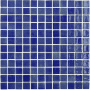 Emaux de verre de 2,5x2,5cm antidérapant NIEVE sur trame de 31,1x31,1cm coloris azul marino - Mosaïques - Galets - Revêtement Sols & Murs - GEDIMAT