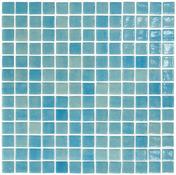 Emaux de verre de 2,5x2,5cm antidérapant NIEVE sur trame de 31,1x31,1cm coloris azul turquesa - Carrelage pour mur en faïence brillante MAIOLICA dim.20x20cm coloris acquamarina - Gedimat.fr