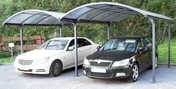 Carport simple en aluminium toit arrondi long.6,00m larg.4,85m - Table Lounge Epicéa haut.750mm larg.1m long. 1m aspect grisé - Gedimat.fr