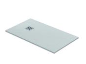 Receveur rectangulaire à poser QUARTZ résine polyester haut.3cm larg.80cm long.1,20m blanc - Table induction 4 zones BOSCH 60cm noir - Gedimat.fr