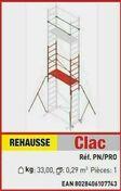 Réhausse CLIC CLAC h.travail 4,36 à 6,46m - Echelles - Echafaudages - Goulottes - Outillage - GEDIMAT