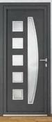 Porte d'entrée NADIA Aluminium laqué gauche poussant haut.2,15m larg.90cm gris - Porte d'entrée LUCILLE Aluminium laqué gauche poussant haut.2,15m larg.90cm gris - Gedimat.fr