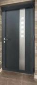 Porte d'entrée LUCILLE Aluminium laqué gauche poussant haut.2,15m larg.90cm gris - Bloc-porte gravé avec inserts à poser non inclus ESCALE huis.88mm haut.2,04m larg.83cm gauche poussant - Gedimat.fr