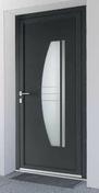 Porte d'entrée NOEMIE Aluminium laqué gauche poussant haut.2,15m larg.90cm gris - Plinthe à recouvrement carrelage pour sol en grès cérame pleine masse DOTTI larg.10cm long.20cm coloris dark grey - Gedimat.fr
