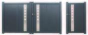 Portail battant LISBONNE en aluminium haut.1,60m larg. Entre piliers 3,06m coloris gris - Plan de travail stratifié ép.38mm, pan coupé, dim.95x95cm R4 décor blanc artic - Gedimat.fr