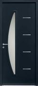 Porte d'entrée CEDOUSA en acier laqué gauche poussant haut.2,15m larg.90cm gris - Volet battant PVC ép.24mm blanc 2 vantaux haut.95cm larg.1,20m - Gedimat.fr