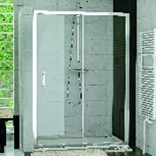 Porte coulissante 2 volets LINEA haut.190cm long.120cm profilés poli brillant verre transparent - Portes - Parois de douche - Salle de Bains & Sanitaire - GEDIMAT