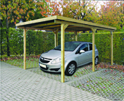 Carport bois éco 1 voiture long.3m prof.5m haut.2,20m - Carport simple en aluminium toit arrondi long.6,00m larg.4,85m - Gedimat.fr