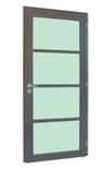 Bloc-porte JAZZ en bois exotique avec vitrage finition gris graphite haut.2,04m larg.73cm droit poussant - Fronton croix occitane coloris Saintonge - Gedimat.fr