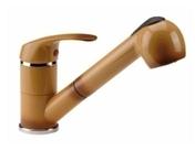 Mitigeur évier avec douchette Saturnos finition terre de France Hauteur sous bec de 131 mm saillie de 247 mm - Robinets éviers - Cuisine - GEDIMAT