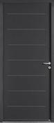 Porte d'entrée EQUATION en acier droite poussant haut.,15m larg.90cm laqué gris - Fenêtre PVC blanc CALINA 1 vantail ouverture à la française gauche tirant haut.75cm larg.40cm vitrage imprimé 4/16/4 basse émissivité - Gedimat.fr