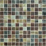 Emaux de verre de 2,5x2,5cm antidérapant WOODLAND sur trame de 31,1x31,1cm coloris oak - Mosaïques - Galets - Revêtement Sols & Murs - GEDIMAT