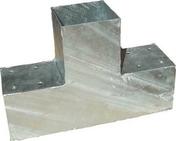 Connecteur 3D en T en acier galvanisé pour poteau 9x9cm dim.20x30x9cm - Connecteur 2D en L en acier galvanisé pour poteau 9x9cm dim.20x20x9cm - Gedimat.fr