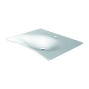 Lavabo en résine FLAT long.62cm blanc - Robinet d'arrêt droit R26 finition chromée - Gedimat.fr