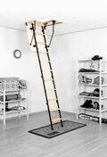 Escalier escamotable MICRO4P en sapin/métal trémie 100x60cm haut.2,65m - Poutrelle en béton PERFORMANCE 115SX haut.12cm larg.9,5cm long.4,30m - Gedimat.fr