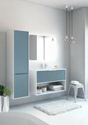 Meuble monté à suspendre NEWPORT long.100cm bleu denim mat/blanc - Meubles de salles de bains - Salle de Bains & Sanitaire - GEDIMAT