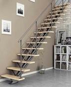Escalier droit monopoutre VEGA haut.2,75m métal/pin - Poutre VULCAIN section 25x45 cm long.3,50m pour portée utile de 2,6 à 3,10m - Gedimat.fr