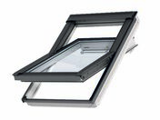 Fenêtre confort VELUX GGL SK06 type 2076 WHITE FINISH Haut.118 cm larg.114 cm - Store d'occultation optimale bleu DKL SK06 1100S - Gedimat.fr