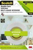 DOUBLE FACE INTERIEUR BLANC 1,5MX19MM - Colles - Adhésifs - Peinture & Droguerie - GEDIMAT