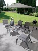 Salon LINEA lounge 4 fauteuils et 1 table basse coloris Gris - Salons de jardin - Plein air & Loisirs - GEDIMAT