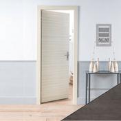 Porte seule PRIMA 204x93cm chêne gris - Bloc-porte rainuré KETCH huisserie Néolys 74x49mm à recouvrement haut.204cm larg.63cm gauche poussant - Gedimat.fr