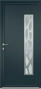 Porte d'entrée TYNDA en aluminium laqué gauche poussant haut.2,15m larg.90cm gris/blanc - Colonne de salle de bains ESTATE mélaminé Long.35cm Haut.140cm larg.32cm structuré chêne naturel - Gedimat.fr