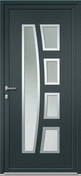 Porte d'entrée Aluminium KEOPS avec isolation totale de 160mm gauche poussant haut.2.00m larg.90cm laqué gris/blanc - Portes d'entrée - Menuiserie & Aménagement - GEDIMAT