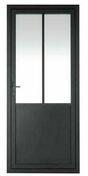 Porte battante en Alu MODELE 60 haut.2,04m larg.83cm poussant gauche - Verrière alu CLASSIC haut.1,198m larg.153,6cm - Gedimat.fr