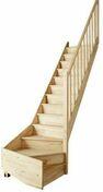Escalier 1/4 tournant droit en kit TRADI ECO en Hêtre haut.2,80m avec rampe - Doublage polystyrène graphite DOUBLISSIMO P 13+100 - 2,70x1,20m - R=3,40m².K/W - Gedimat.fr