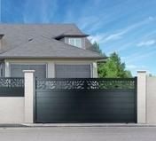 Portail coulissant ALABAMA en aluminium Haut.1,60 m Largeur entre piliers 3,50 m Gris 7016 STR - Portails - Barrières - Menuiserie & Aménagement - GEDIMAT