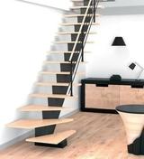 ESCALIER DROIT GOMERA - Escalier droit en hêtre lamellé collé avec rampe à lisses aluminium haut.sol à sol 2,80m - Gedimat.fr