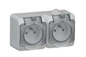 Double PC 2P+T CEDAR + Gris IP44 en saillie - Modulaires - Boîtes - Electricité & Eclairage - GEDIMAT