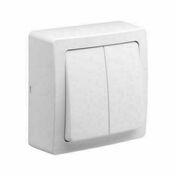 Appareillage en saillie double va et vient gamme Blok couleur blanc - Prise 2P+T saillie blanc polaire ALREA - Gedimat.fr
