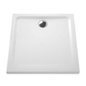 Receveur carré à poser ou à encastrer ARKITEKT en céramique haut.5,5cm larg.80cm long.80cm blanc - Mitigeur douche EUROSMART GROHE en laiton chromé - Gedimat.fr