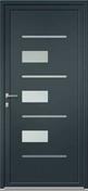 Porte d'entrée Aluminium LANHZU avec isolation totale de 160mm gauche poussant haut.2.15m larg.90cm laqué gris/blanc - Portes d'entrée - Menuiserie & Aménagement - GEDIMAT