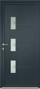 Porte d'entrée Aluminium JAIPUR avec isolation totale de 140mm droite poussant haut.2.15m larg.90cm laqué gris/blanc - Porte d'entrée Aluminium PATNA avec isolation totale de 160mm gauche poussant haut.2.15m larg.90cm laqué gris/blanc - Gedimat.fr