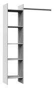 Panneaux de particule ép.15mm surfacé papier décor blanc - composé de : 1 colonne de 40cm avec 5 tablettes et une barre de penderie recoupable de 80cm - haut.1,87m larg.1,20m prof.38cm  - Placards - Menuiserie & Aménagement - GEDIMAT
