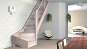 Escalier 1/4 tournant gauche en hêtre lamellé collé avec rampe à lisses aluminium haut. sol à sol 2,80m - Microstation AQUAMERIS AQ2 pour habitation 6 pièces - Gedimat.fr