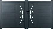 Portail battant ELIOS en aluminium haut.1,62m larg. Entre piliers 3,56m coloris gris 7016 - Portails - Barrières - Menuiserie & Aménagement - GEDIMAT