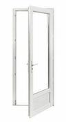 Porte fenêtre PVC blanc VISION 1 vantail avec soubassement droit tirant haut.2,15m larg.90cm à serrure - Fenêtres - Portes fenêtres - Menuiserie & Aménagement - GEDIMAT