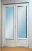 Porte fenêtre PVC blanc VISION 2 vantaux ouverture à la française avec soubassement haut.2,15m larg.140cm à serrure - Lavabo NORMUS en porcelaine haut.60cm long.49cm blanc - Gedimat.fr