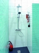 Colonne de douche thermostatique AQUAHEAT chromé - GEDIMAT - Matériaux de construction - Bricolage - Décoration