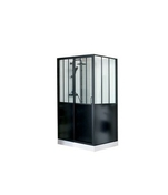 Cabine de douche rectangulaire ARTELO Long. 120cm Haut.220cm Larg.90cm Coloris noir - Paroi fixe WALK IN EASY haut.200cm long.140cm profilés poli brillant verre transparent - Gedimat.fr