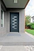 Porte d'entrée PENJAB en aluminium laqué gauche poussant haut.2,15m larg.90cm gris/blanc - Portes d'entrée - Menuiserie & Aménagement - GEDIMAT
